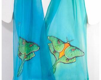 """Hand painted silk scarf. 10""""x58"""" chiffon silk. Luna Moth Silk Scarf. Turquoise silk scarf. Hand-painted silk scarves. Painted silk scarves"""