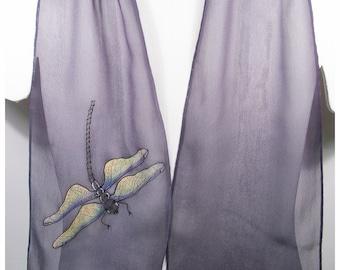 """Silk scarf handpainted. Dragonfly silk scarf~8x52""""~Painted silk scarf~Hand painted silk scarf~Handpainted silk scarf~Hand-painted silk scarf"""