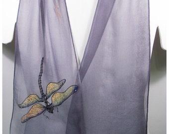 """Dragonfly Silk Scarf. 8x52"""" chiffon silk. Handpainted silk scarf~Handpainted Silk scarves~Grey silk scarf~Dragonfly scarf~Painted silk scarf"""