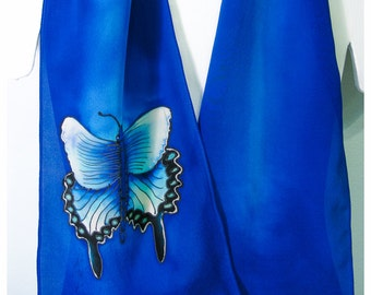 "Butterfly Silk Scarf. Hand painted silk scarf. 10""x58"" crepe. Blue silk scarf. Swallowtail Butterfly silk scarf. Hand painted silk scarves"