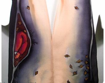 "SALE. Fox Silk Scarf. 8""x52"". Painted silk scarves. Hand painted silk scarf. Fox scarf. Hand painted silk scarves. Hand-painted silk scarf."