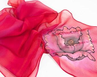 "Hand painted silk scarf. Poppy Silk Scarf. 8x50"". Painted silk scarf. Painted silk scarves. Handpainted silk scarf. Silk scarf handpainted."