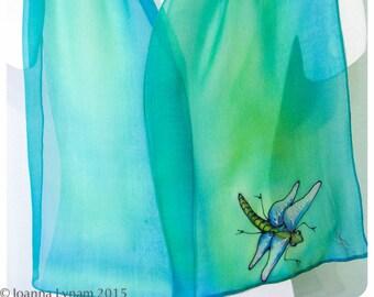 """Painted Silk scarf. 11""""x56"""" chiffon. Dragonfly Silk Scarf. Hand-painted silk scarf~Dragonfly scarf~Green silk scarf~Handpainted silk scarves"""