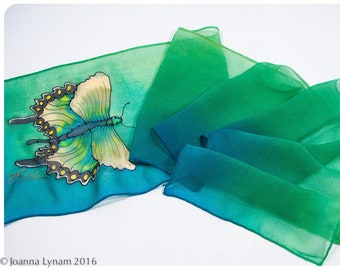 """SALE. Hand painted silk scarf~Butterfly Silk Scarf~8""""x52""""Silk chiffon~Swallowtail Butterfly scarf~Green silk scarf~Handpainted silk scarves"""