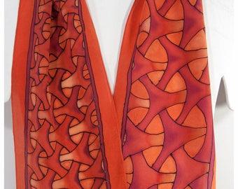 "SALE. Celtic knot silk scarf~8x52"" crepe silk~Painted silk scarves~Japanese Knotwork Silk Scarf~Painted silk scarf~Hand-painted silk scarves"
