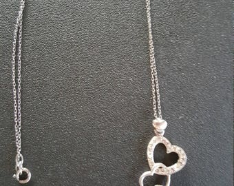 Sterling silver 3 Heart pendant with crystals on as chain