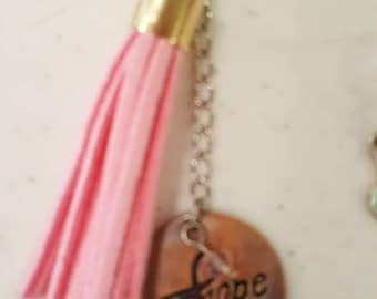 Pink Tassel and Hope breast cancer purse charm