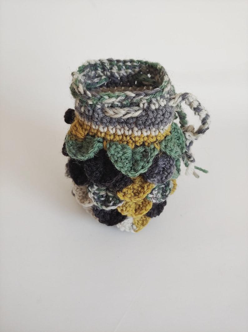 Scale Dice bag black gray green pouch  crocodile stitch