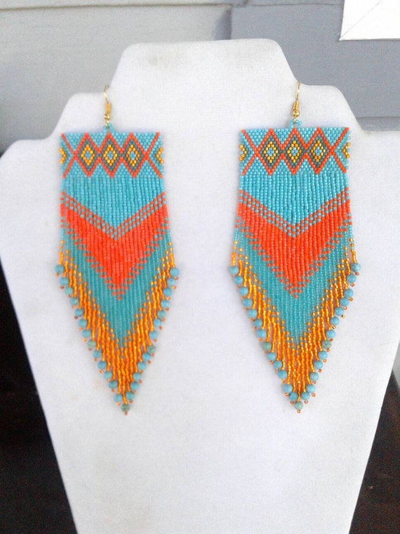 large native american style turquoise and orange beaded rug etsy. Black Bedroom Furniture Sets. Home Design Ideas