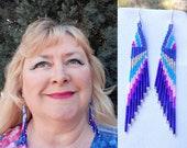 Beautiful Native American Style Beaded Dark Blue, Blue Silver and Hot Pink Earrings Southwestern Bohemian Brick Stitch Gypsy