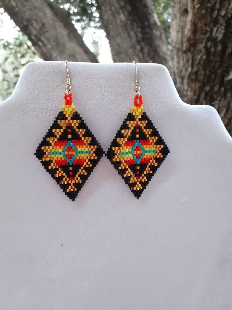 Gypsy Rug Tribal Ready to Ship Native American Style Beaded Gold /& Turquoise Blanket Earrings No Fring Southwestern Brick Stitch Peyote