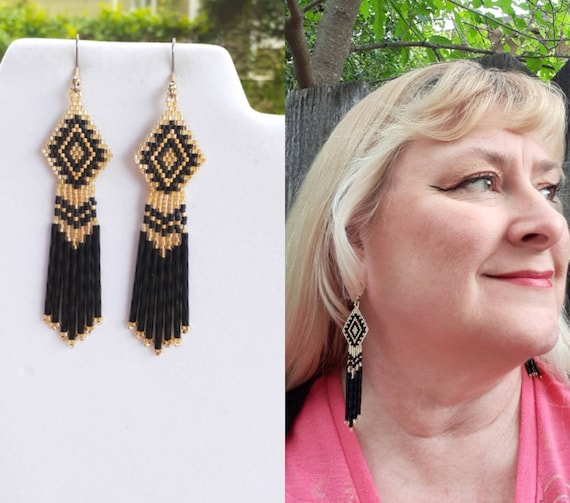 Great Gift Hippie Long Peyote Brick Stitch Native American Style Beaded Black and Gold Earrings Shoulder Duster Boho Southwestern