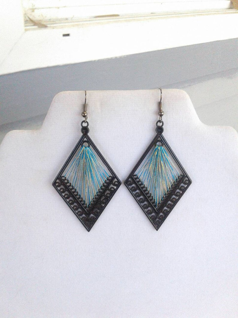 Gift Sweet Heart SALE Diamond Teal and Gold  Thread Earrings Southwestern Ready to Ship Hippie Boho Mother Native Hipster