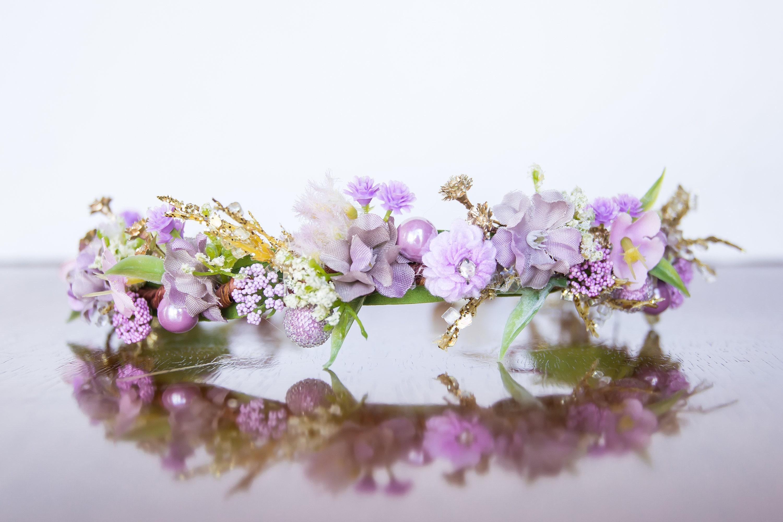 Purple flower crown flowergirl hairpiece rose wedding etsy zoom izmirmasajfo