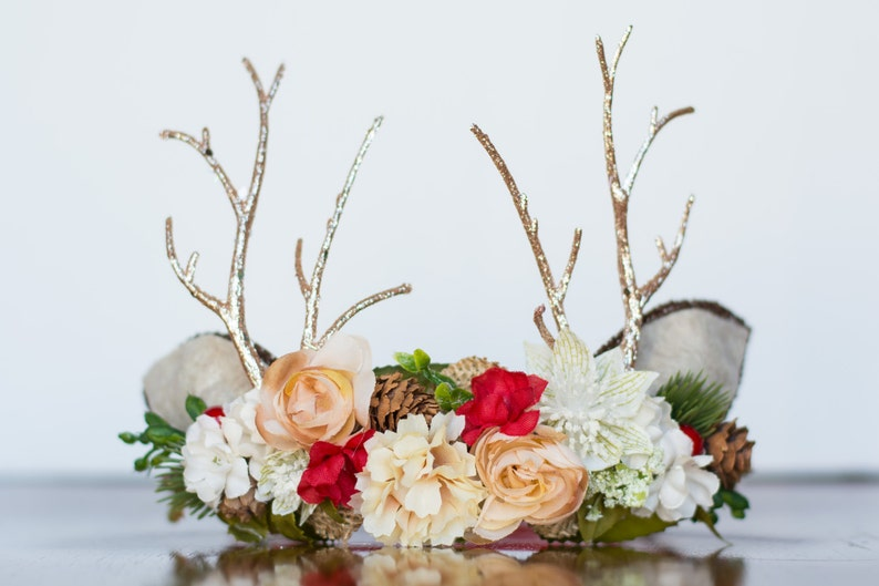 d65287570c9 Antler Flower Crown - Woodland Rustic Halo - Flowergirl piece - Christmas  Wedding - Deer Newborn Prop - Wedding Crown - Floral Hairpiece