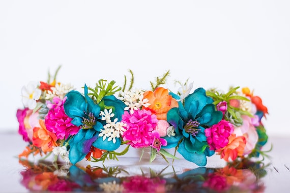 Flower Crown In Summer Teal And Hot Pink Flowergirl Etsy