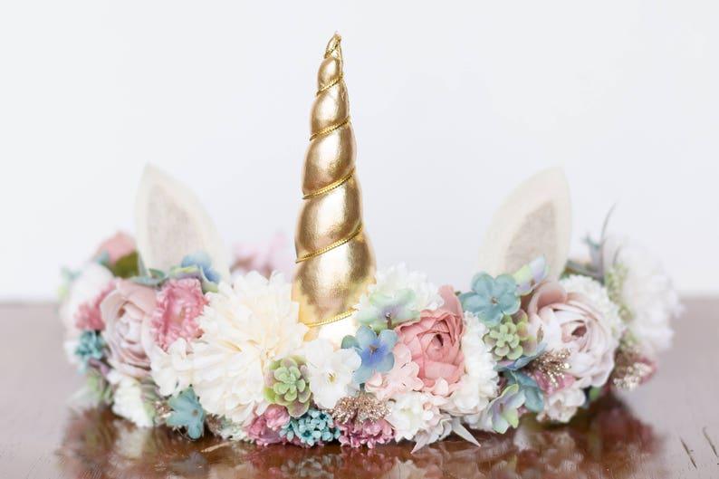 Unicorn Flower Crown  Flower Rustic Halo  Flowergirl image 0