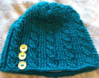 Teal, Cable Crocheted Beanie with Mustard Buttons