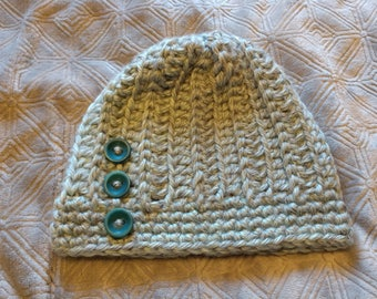 Chunky Crochet Ribbed Beanie with Buttons