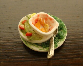 miniature for dollhouse,  pile of dirty dishes,  1/12 scale
