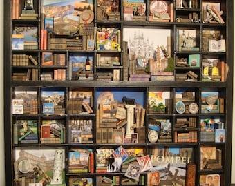 "OOAK Miniature, Library thematic    ""I love Italy "".  minilibrary, mini library,"