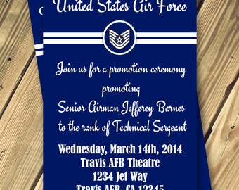 Military Promotion Ceremony Invitation Any Branch Any Rank Print Your Own
