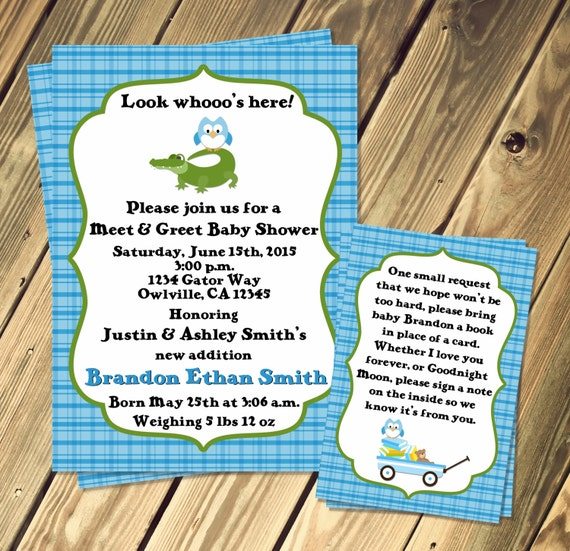 Alligator and owl baby shower meet and greet invitation print etsy image 0 m4hsunfo