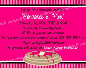 Pink Pancake Breakfast Invitation Print Your Own 5x7 or 4x6