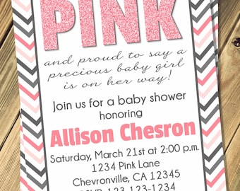 Tickled Pink Baby Shower Invitation Print Your Own