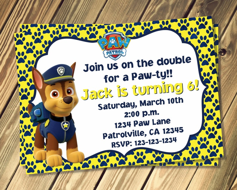 Chase Paw Patrol Inspired Birthday Invitation Print Your Own