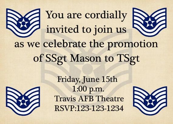 Attractive Military Promotion Ceremony Invitation Any Branch Any Rank