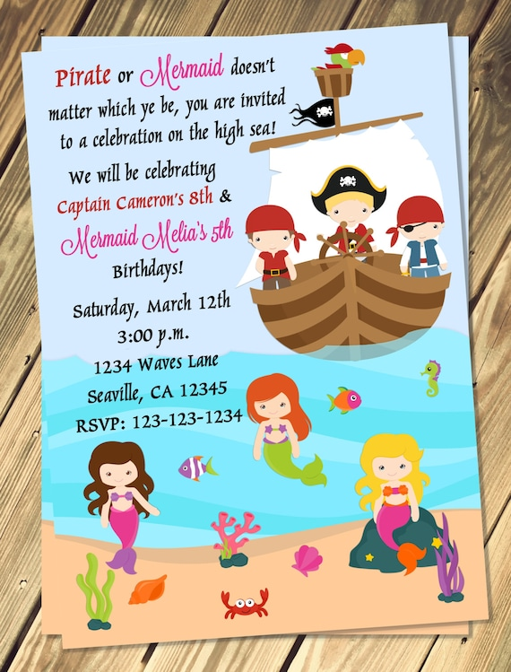 pirate mermaid birthday invitation print your own etsy