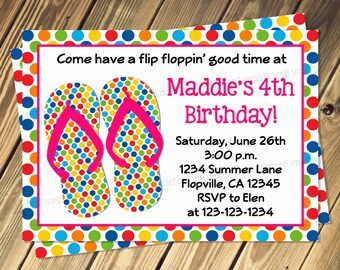 Polka Dot Flip Flop Birthday Party Invitation Prin Your Own