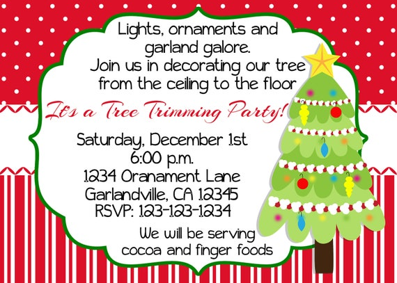Christmas Tree Trimming Party Invitation Print Your Own 5x7 or | Etsy