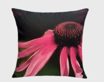 "Decorative Pillow case, My Designer fabric, Cotton, Pink flower Throw pillow case, fits 18""x18"" insert, Toss pillow case, Cushion case."