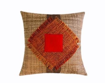 "Decorative pillow case, Orange, Beige, Brown, Red color fabrics, Throw pillow case, fits 18"" x 18"" insert, Cushion case, Toss case"