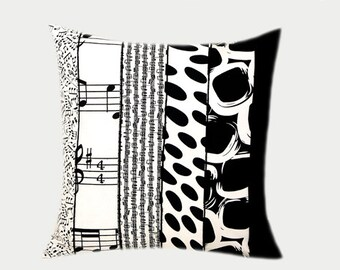 """Decorative Pillow Case, Cotton White Black Throw pillow case with different patterns from different fabrics, fits 18""""x18"""" insert, Toss case."""