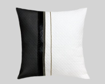 """Decorative Pillow Case, Black-White Throw pillow case with gold-black decortion, fits 18""""x18"""" insert, Toss pillow case."""