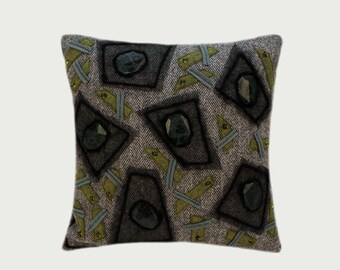 """Decorative Pillow case, Throw pillow case with Stones & Beads, Grey, Green, Black color, fits 18""""x18"""" insert, Cushion case, Toss pillow case"""