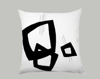 "Decorative Pillow Case, Black-White Throw pillow case with black color geometric accent, fits 18""x18"" insert, Toss pillow case."
