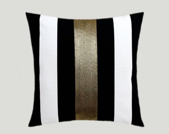 "Decorative Pillow Case, Cotton Black-White Throw pillow case with Gold color accent 7, 16"" x 16"",  Cushion case, Toss pillow case."