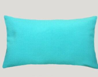 "Decorative Pillow Case, Turquose-Blue color Decorative Shanel fabric Lumbar pillow case, fits 12""x20"" insert."