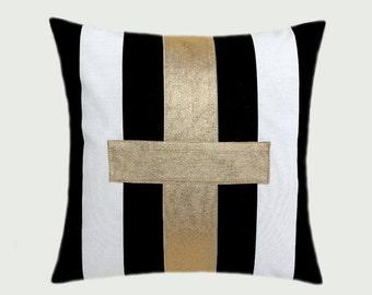"Decorative Pillow Case, Cotton Black-White Throw pillow case with gold color accent, 16"" x 16"",  Cushion case, Toss pillow case."