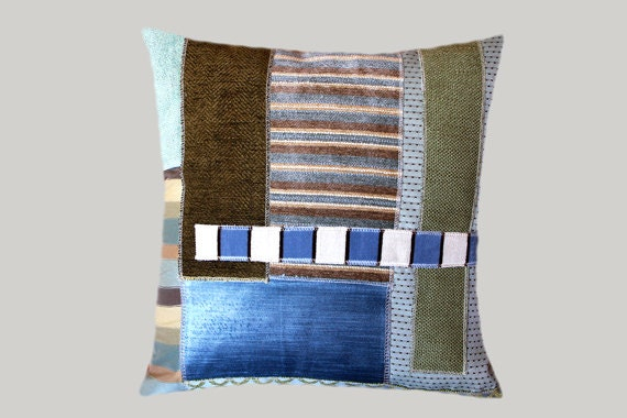 decorative pillow case green blue brown colors abstract etsy. Black Bedroom Furniture Sets. Home Design Ideas
