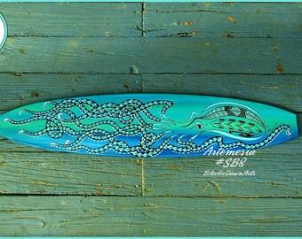 "Octopus Surfboard Wall Art, 42"" x 9"", Beach Lover Decor, Artemisia: #SB8"
