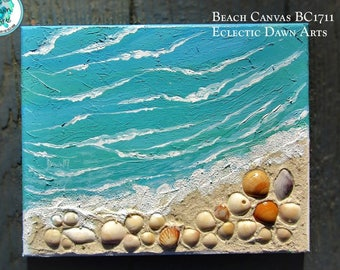 """Your personal beach, textured ocean painting with real shells and sand, 8"""" x 10"""", BC1711"""