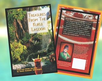 "Tiki Bar Exotic Cocktails & Food Recipe Book, Illustrated, ""Treasures from the Kukui Lagoon"""