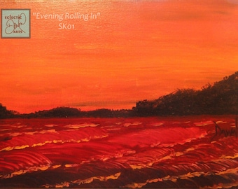 """Ocean sunset, original art on canvas, red and orange, 11 x 14, """"Evening Rolling In"""", SK01, FREE SHIPPING"""