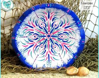 Handpainted Mandala Altar Bowl, Wood, white, pink, turquoise, blue, #1707