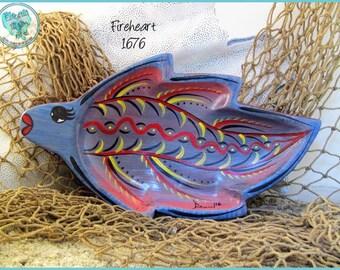 Betta Fish Trinket Tray, Ring Dish, Handpainted Wood, Unique Beach Decor in *blue, peach, red, yellow, black* 1676